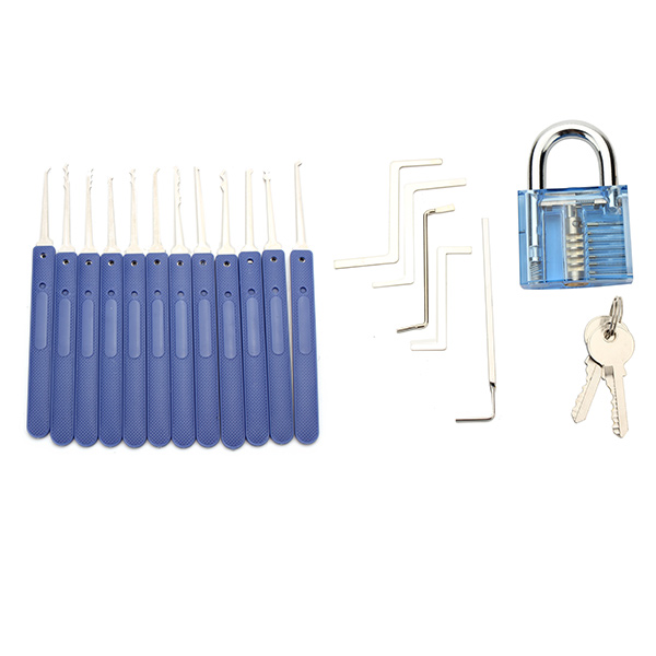 SPARTA Practice Tools Blue KIT 12pcs Lock Pick with 5pcs tension wrench & visible cutaway Lock 7 Pin Cylinder