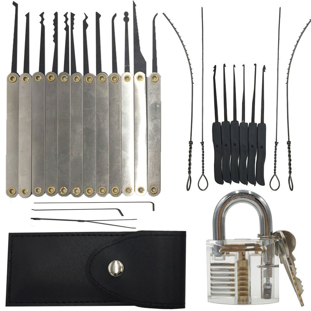 Sparta Transparent Lock with 12-pieces Lock Pick Set Practice Padlock