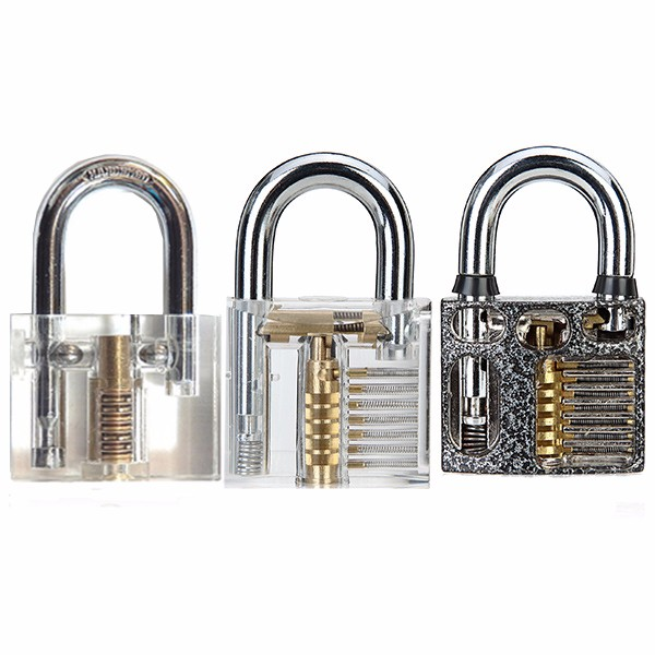 SPARTA 3pcs Visible Cutaway Inside View Of Practice Padlocks Lock Pick Tools Training Skill For Locksmith Beginner