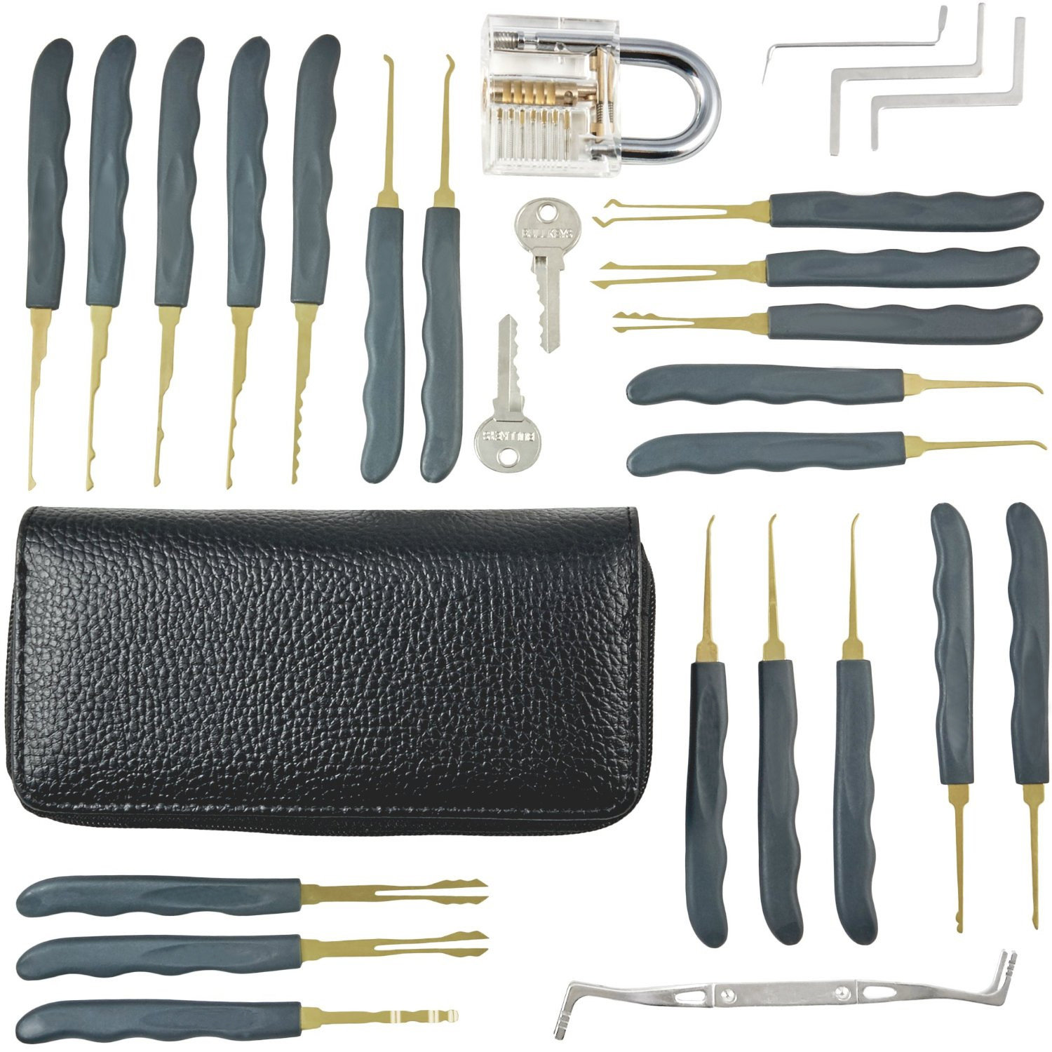 Goso 24-pieces Single Hook Lock Pick Set with a Transparent Practice Lock for Locksmiths