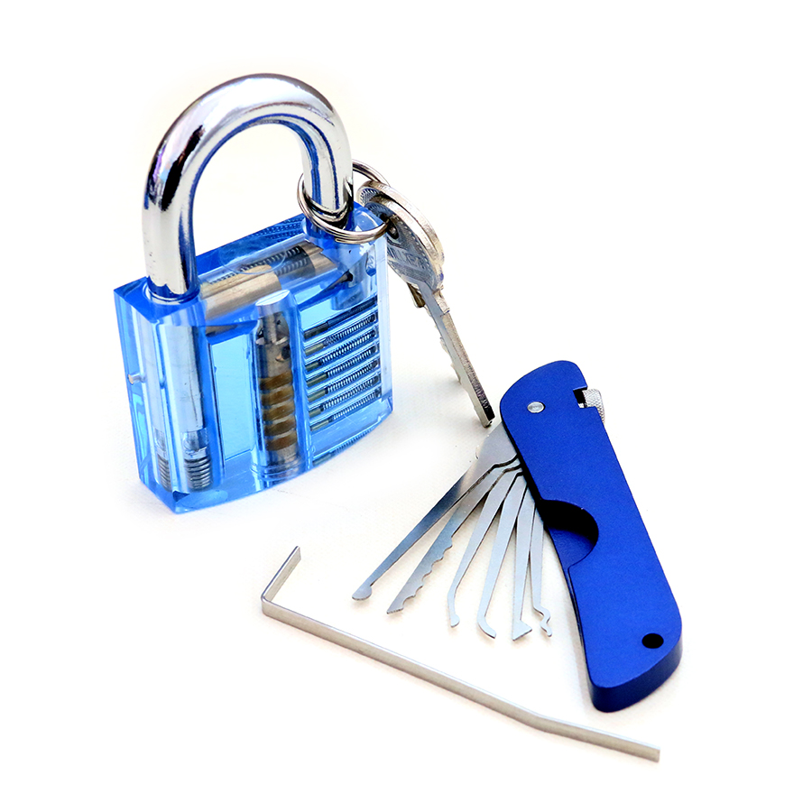 SPARTA Practice Tools Blue KIT Foldable Lockpick Set with 1pcs tension wrench & visible cutaway Lock 7 Pin Cylinder