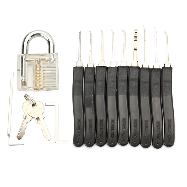 SPARTA Practice Tools KIT 9pcs Lock Picking with 2pcs tension wrench & visible clear Lock 7 Pin Cylinder