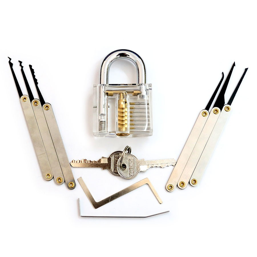 SPARTA Practice Tools KIT 6Pcs Lock Picking Set with Visible Clear Lock 7 Pin Cylinder - Locksmith Beginner